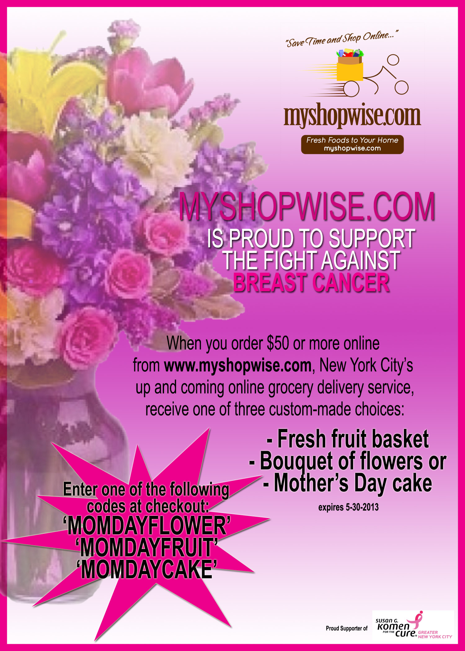 Surprise mom for mothers day with a bouquet of flowers youve jason flyer susan g izmirmasajfo