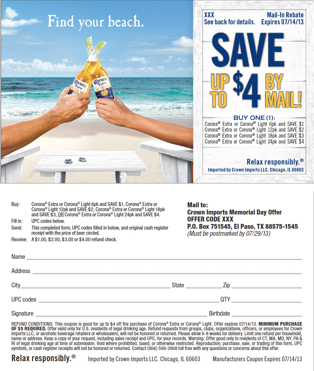 Find Your Beach with $4 off Corona | You've Got Groceries ...
